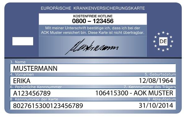 elektronische Gesundheitskarte Muster Deutschland